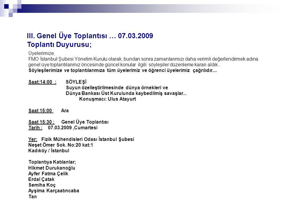 III. Genel Üye Toplantısı … 07.03.2009 Toplantı Duyurusu;