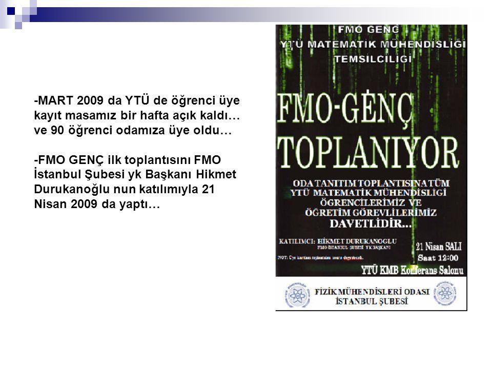 -MART 2009 da YTÜ de öğrenci üye kayıt masamız bir hafta açık kaldı… ve 90 öğrenci odamıza üye oldu…