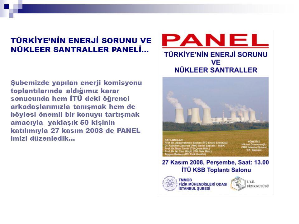 TÜRKİYE'NİN ENERJİ SORUNU VE NÜKLEER SANTRALLER PANELİ…
