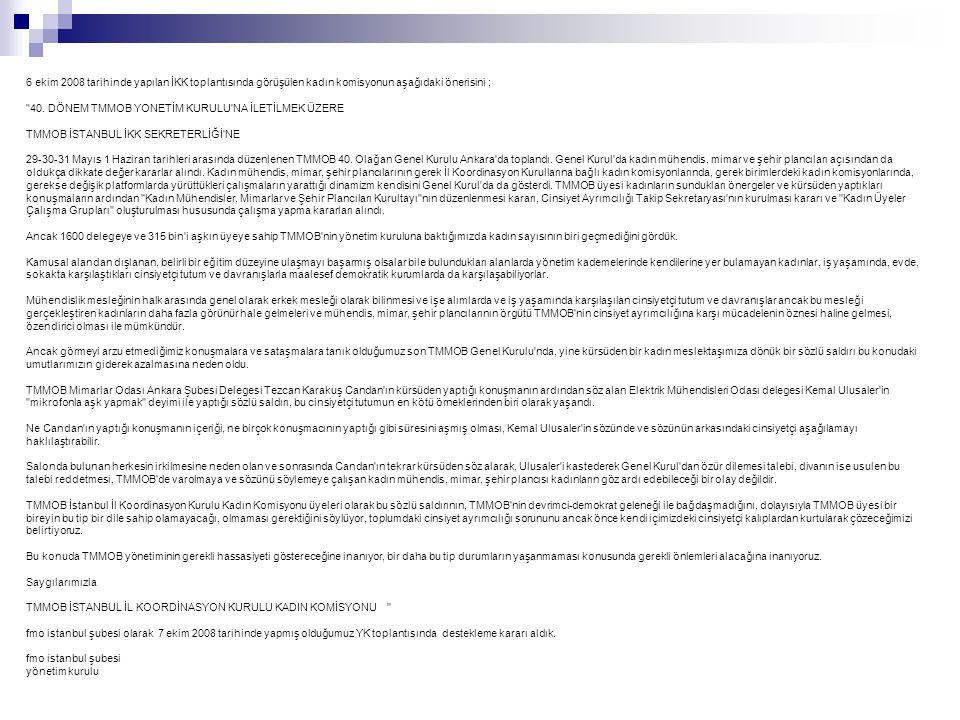 6 ekim 2008 tarihinde yapılan İKK toplantısında görüşülen kadın komisyonun aşağıdaki önerisini ;