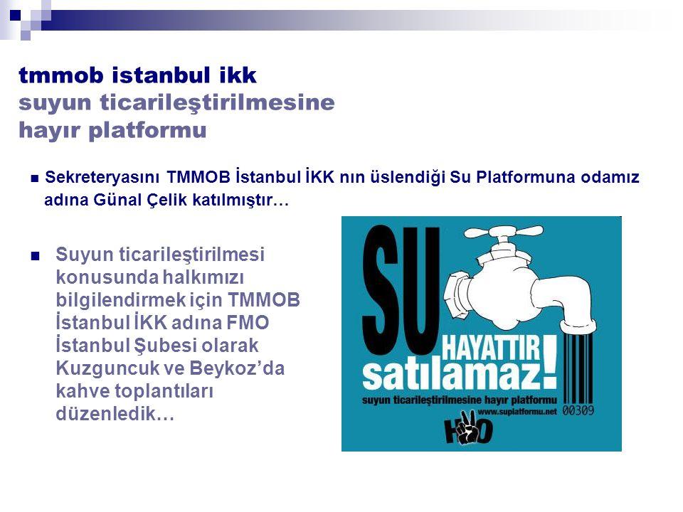 tmmob istanbul ikk suyun ticarileştirilmesine hayır platformu