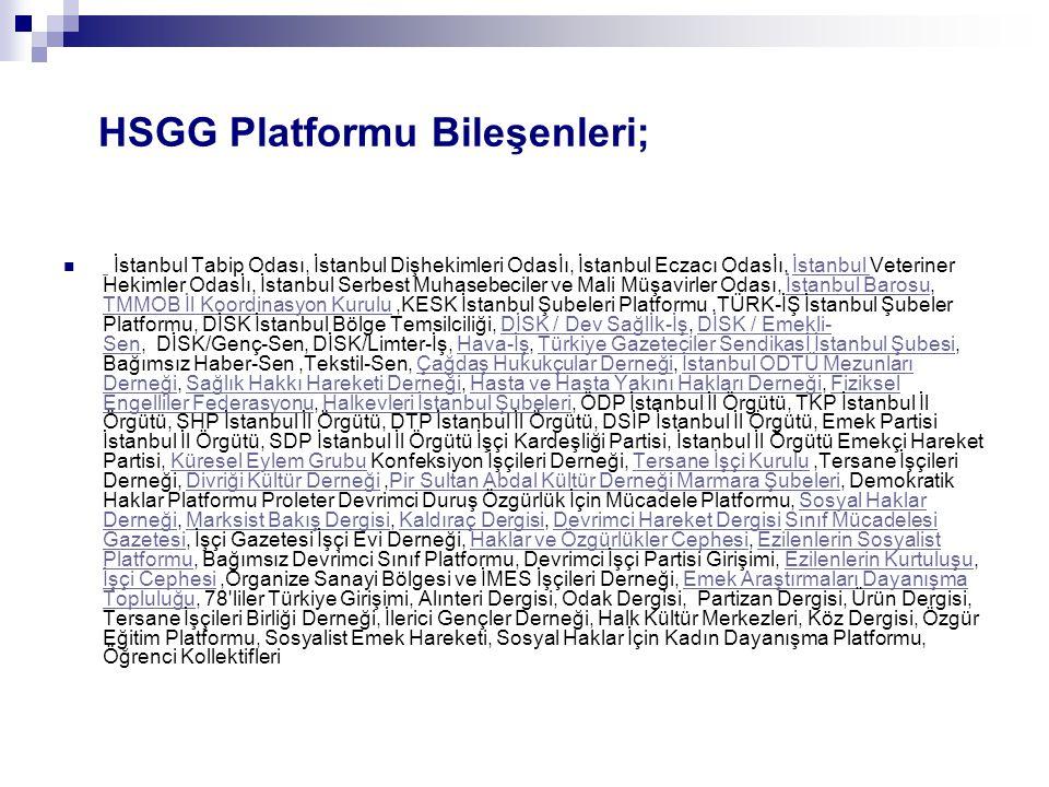 HSGG Platformu Bileşenleri;
