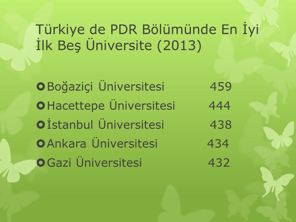 Türkiye de PDR Bölümünde En İyi İlk Beş Üniversite (2013)