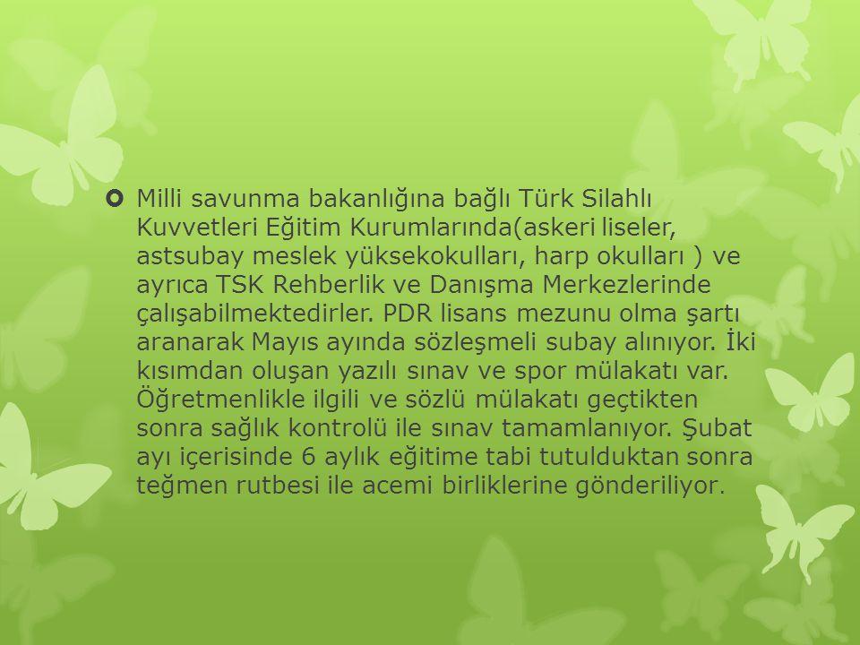 Milli savunma bakanlığına bağlı Türk Silahlı Kuvvetleri Eğitim Kurumlarında(askeri liseler, astsubay meslek yüksekokulları, harp okulları ) ve ayrıca TSK Rehberlik ve Danışma Merkezlerinde çalışabilmektedirler.