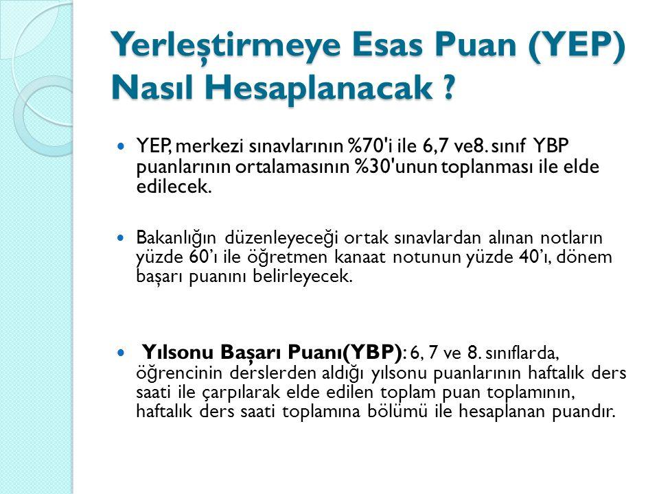 Yerleştirmeye Esas Puan (YEP) Nasıl Hesaplanacak