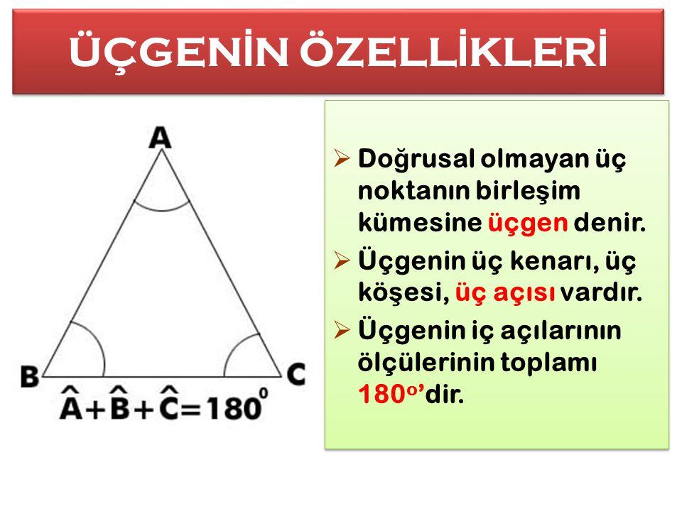 ÜÇGENİN ÖZELLİKLERİ Doğrusal olmayan üç noktanın birleşim kümesine üçgen denir. Üçgenin üç kenarı, üç köşesi, üç açısı vardır.