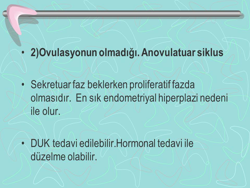2)Ovulasyonun olmadığı. Anovulatuar siklus
