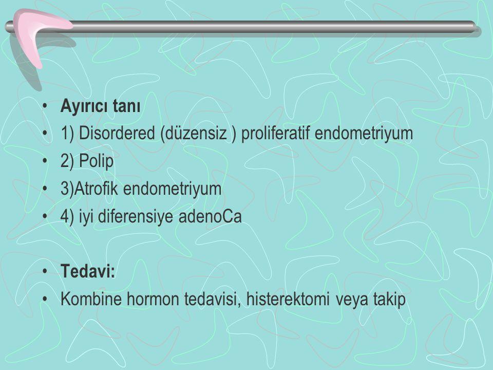 Ayırıcı tanı 1) Disordered (düzensiz ) proliferatif endometriyum. 2) Polip. 3)Atrofik endometriyum.