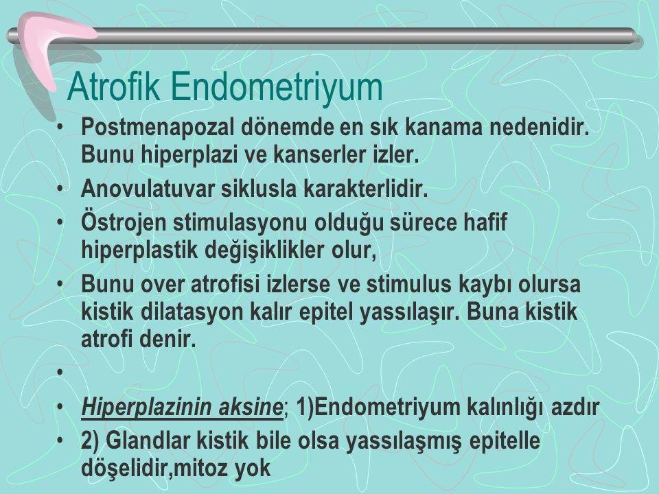 Atrofik Endometriyum Postmenapozal dönemde en sık kanama nedenidir. Bunu hiperplazi ve kanserler izler.