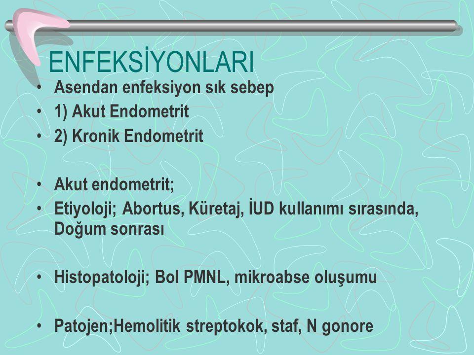 ENFEKSİYONLARI Asendan enfeksiyon sık sebep 1) Akut Endometrit