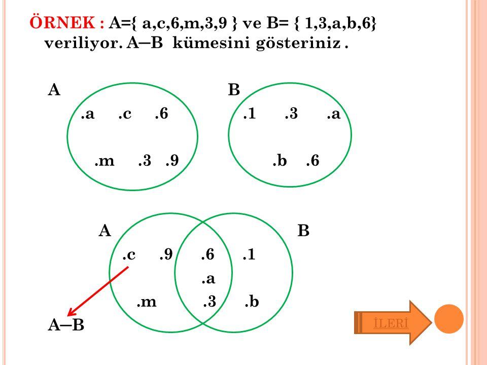 ÖRNEK : A={ a,c,6,m,3,9 } ve B= { 1,3,a,b,6} veriliyor