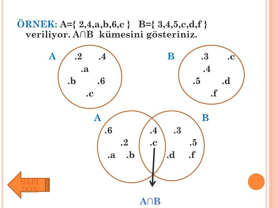 ÖRNEK: A={ 2,4,a,b,6,c } B={ 3,4,5,c,d,f } veriliyor