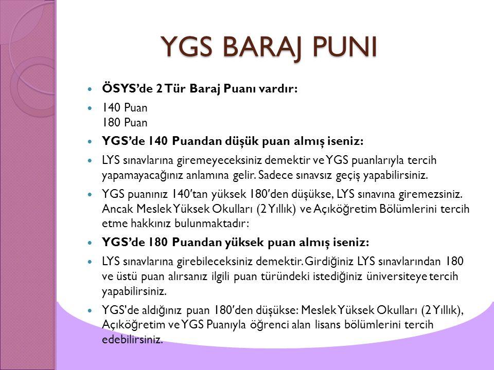 YGS BARAJ PUNI ÖSYS'de 2 Tür Baraj Puanı vardır: 140 Puan 180 Puan