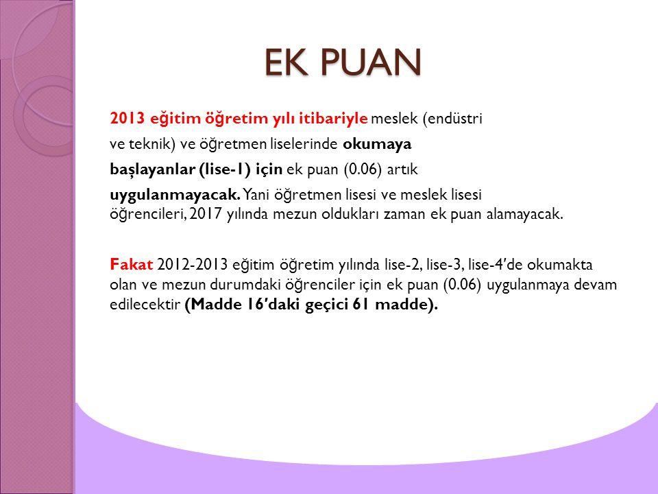 EK PUAN 2013 eğitim öğretim yılı itibariyle meslek (endüstri