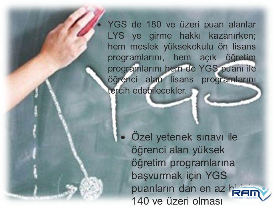 YGS de 180 ve üzeri puan alanlar LYS ye girme hakkı kazanırken; hem meslek yüksekokulu ön lisans programlarını, hem açık öğretim programlarını hem de YGS puanı ile öğrenci alan lisans programlarını tercih edebilecekler.