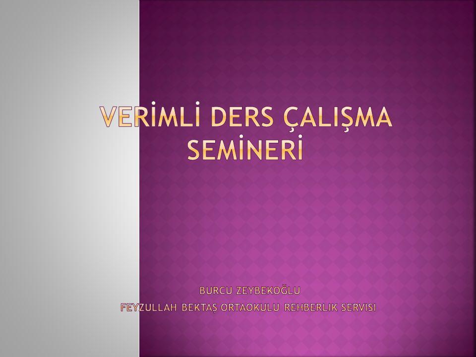VERİMLİ DERS ÇALIŞMA SEMİNERİ burcu zeybekoğlu feyzullah bektaş ortaokulu rehberlik servisi