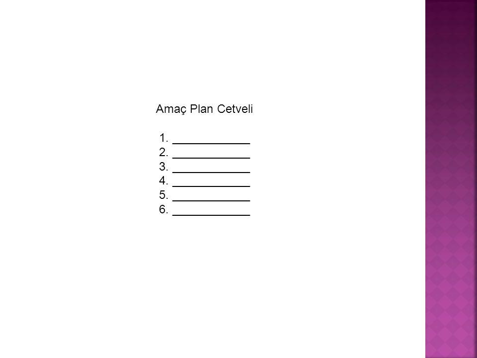 Amaç Plan Cetveli 1. ____________. 2. ____________. 3. ____________. 4. ____________. 5. ____________.