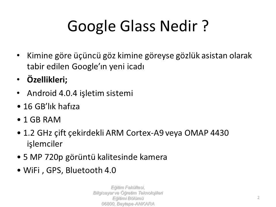 Google Glass Nedir Kimine göre üçüncü göz kimine göreyse gözlük asistan olarak tabir edilen Google'ın yeni icadı.