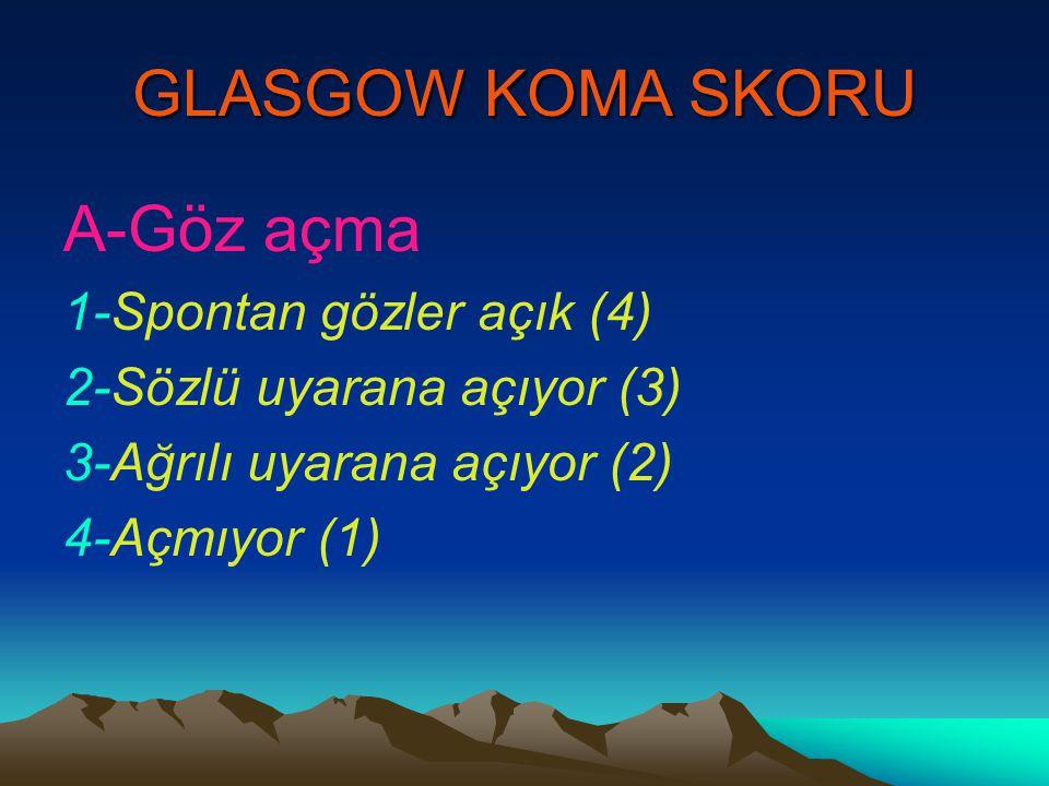 GLASGOW KOMA SKORU A-Göz açma 1-Spontan gözler açık (4)