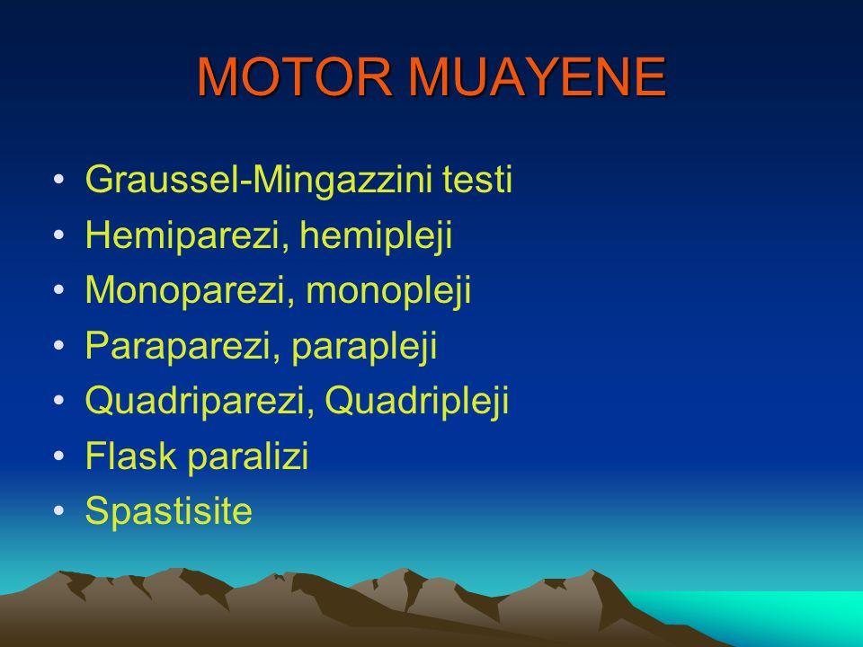 MOTOR MUAYENE Graussel-Mingazzini testi Hemiparezi, hemipleji