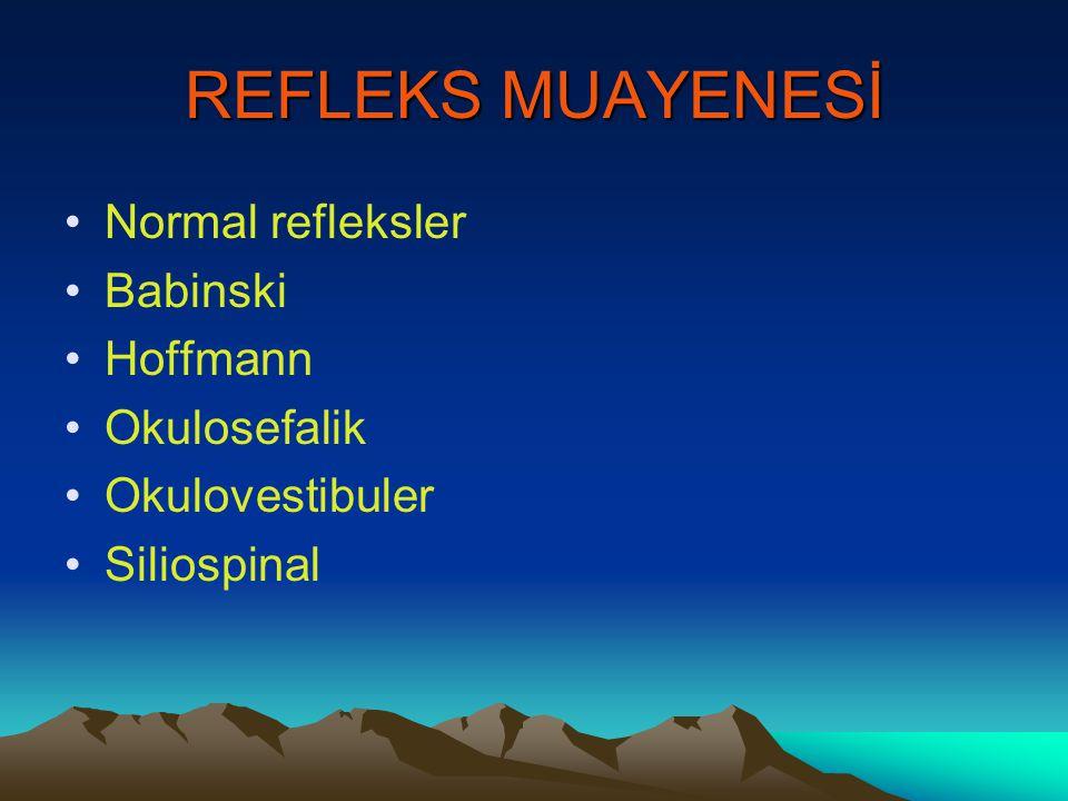 REFLEKS MUAYENESİ Normal refleksler Babinski Hoffmann Okulosefalik