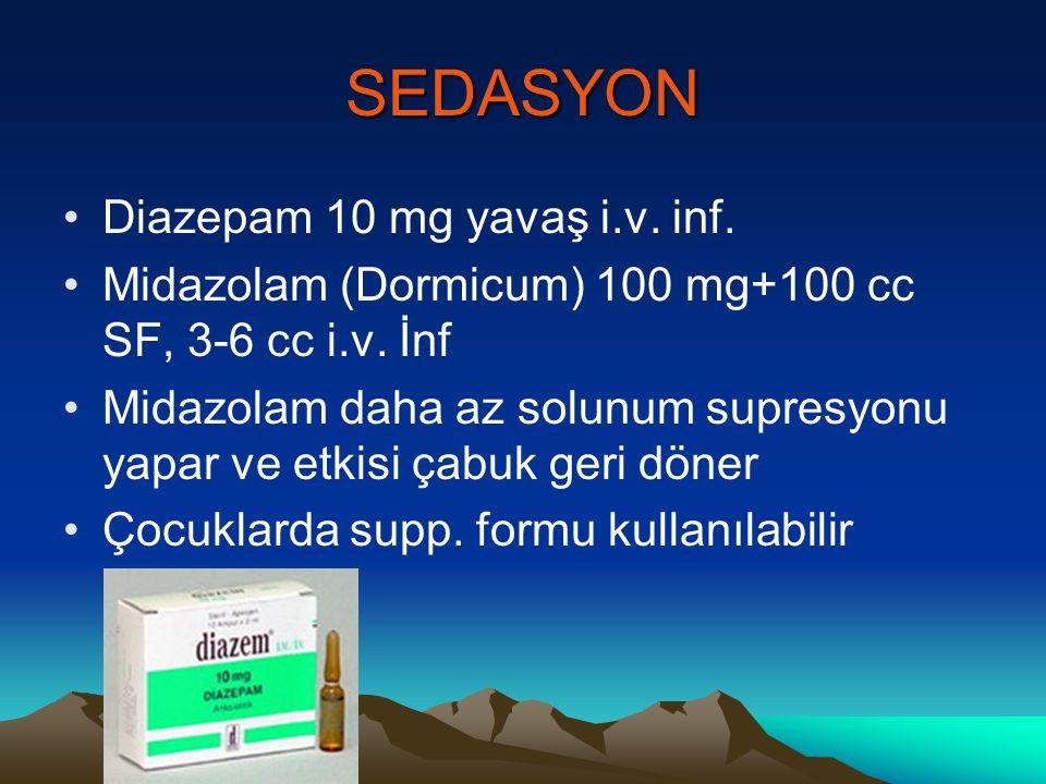 SEDASYON Diazepam 10 mg yavaş i.v. inf.