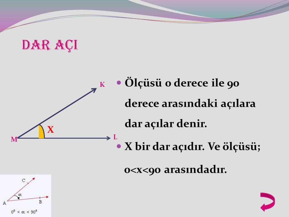 DAR AÇI Ölçüsü 0 derece ile 90 derece arasındaki açılara dar açılar denir. X bir dar açıdır. Ve ölçüsü;