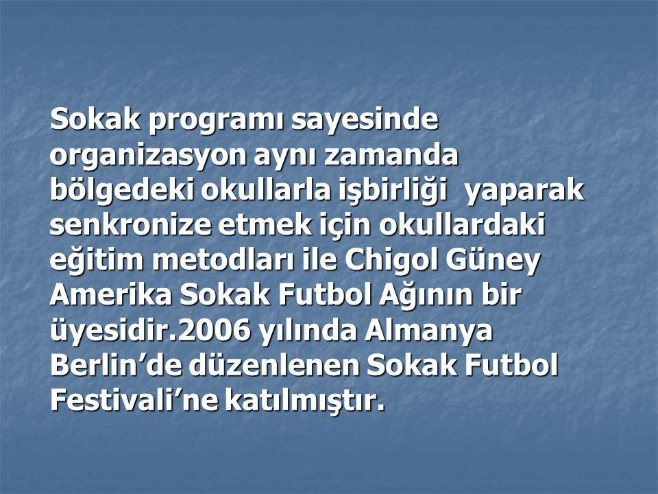 Sokak programı sayesinde organizasyon aynı zamanda bölgedeki okullarla işbirliği yaparak senkronize etmek için okullardaki eğitim metodları ile Chigol Güney Amerika Sokak Futbol Ağının bir üyesidir.2006 yılında Almanya Berlin'de düzenlenen Sokak Futbol Festivali'ne katılmıştır.