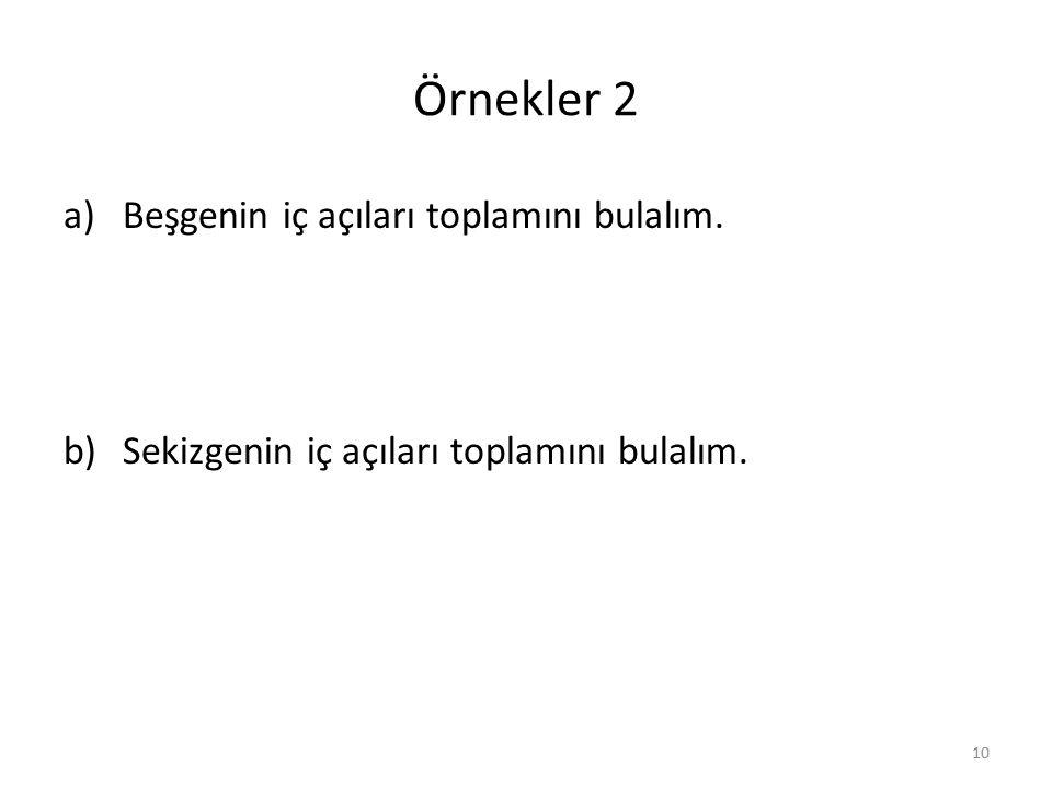 Örnekler 2 Beşgenin iç açıları toplamını bulalım.