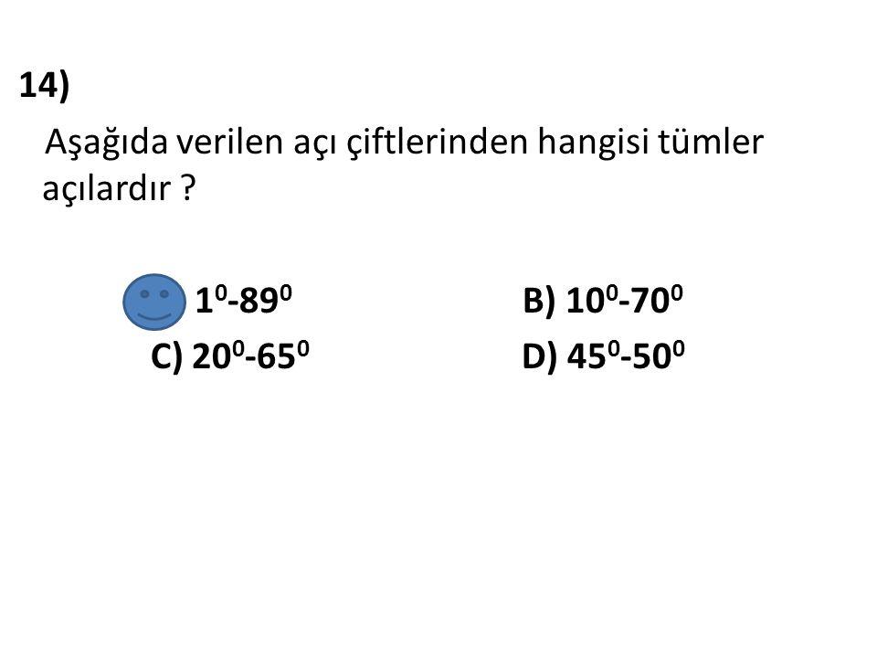 14) Aşağıda verilen açı çiftlerinden hangisi tümler açılardır
