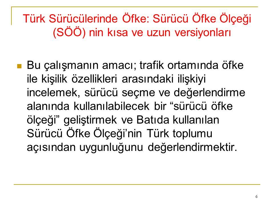 Türk Sürücülerinde Öfke: Sürücü Öfke Ölçeği (SÖÖ) nin kısa ve uzun versiyonları