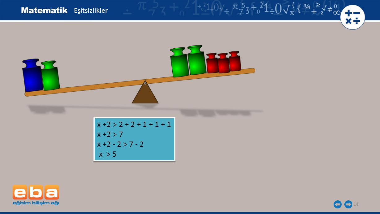x +2 > 2 + 2 + 1 + 1 + 1 x +2 > 7 x +2 - 2 > 7 - 2 x > 5