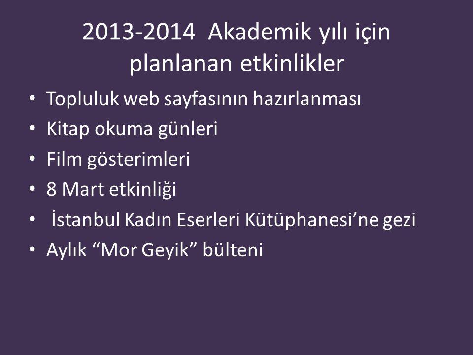 2013-2014 Akademik yılı için planlanan etkinlikler