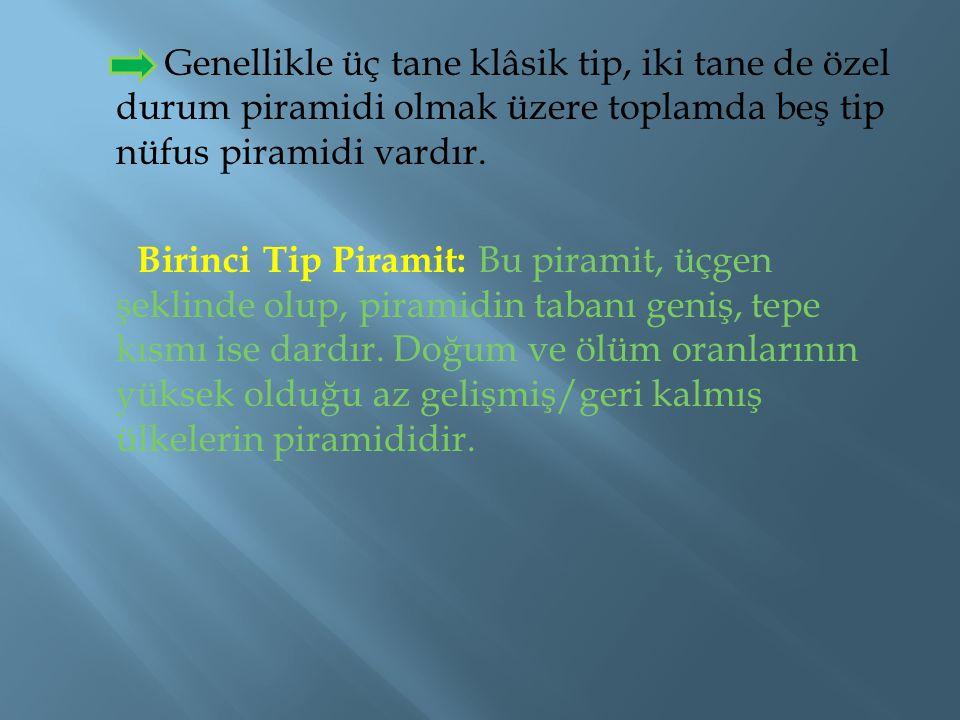 Genellikle üç tane klâsik tip, iki tane de özel durum piramidi olmak üzere toplamda beş tip nüfus piramidi vardır.