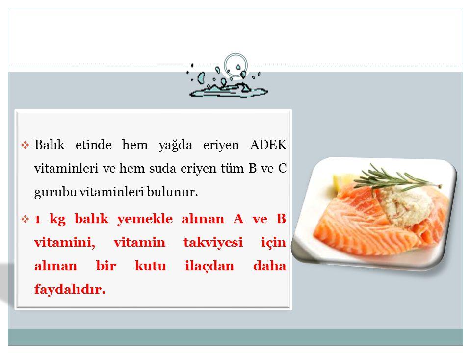 Balık etinde hem yağda eriyen ADEK vitaminleri ve hem suda eriyen tüm B ve C gurubu vitaminleri bulunur.