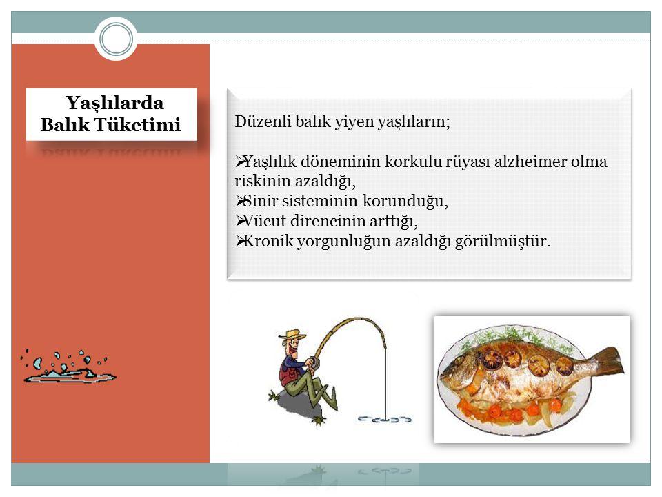 Balık Tüketimi Yaşlılarda Düzenli balık yiyen yaşlıların;