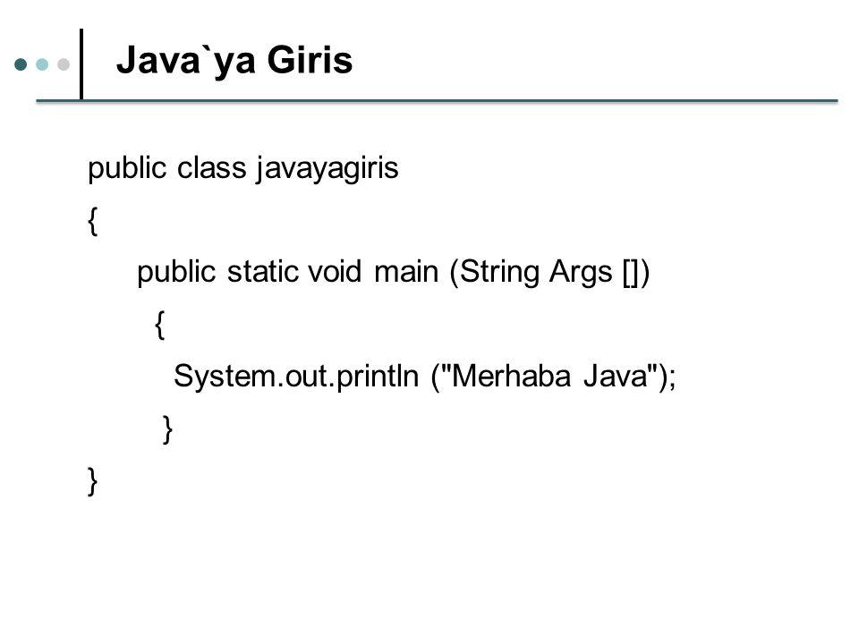 Java`ya Giris public class javayagiris {