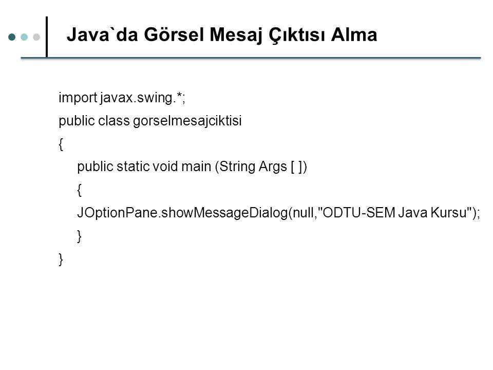 Java`da Görsel Mesaj Çıktısı Alma