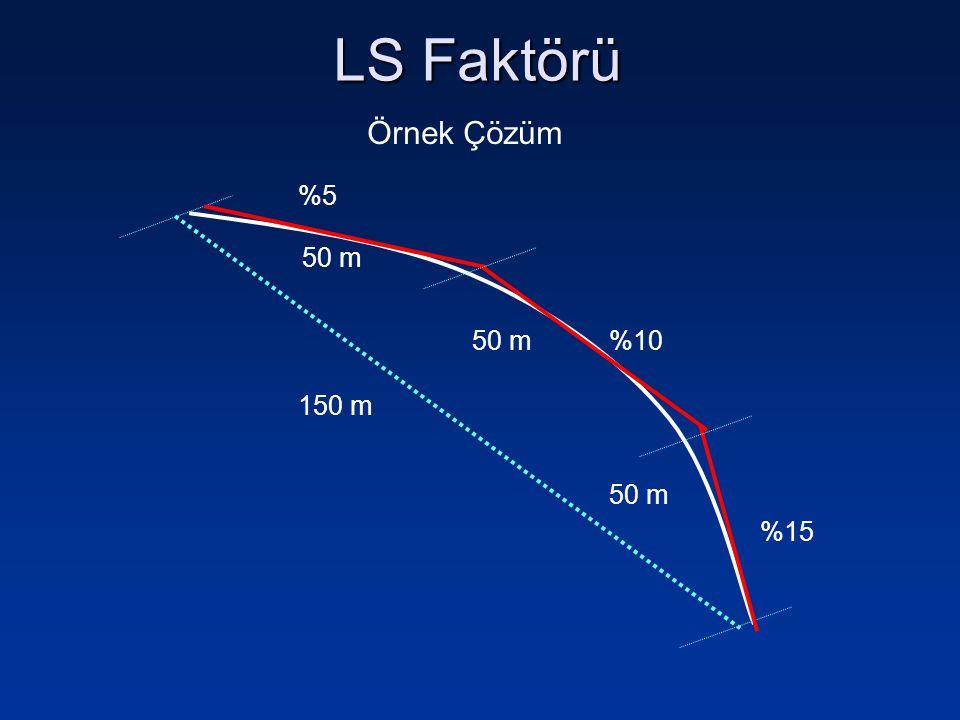 LS Faktörü Örnek Çözüm 150 m 50 m %5 %10 %15