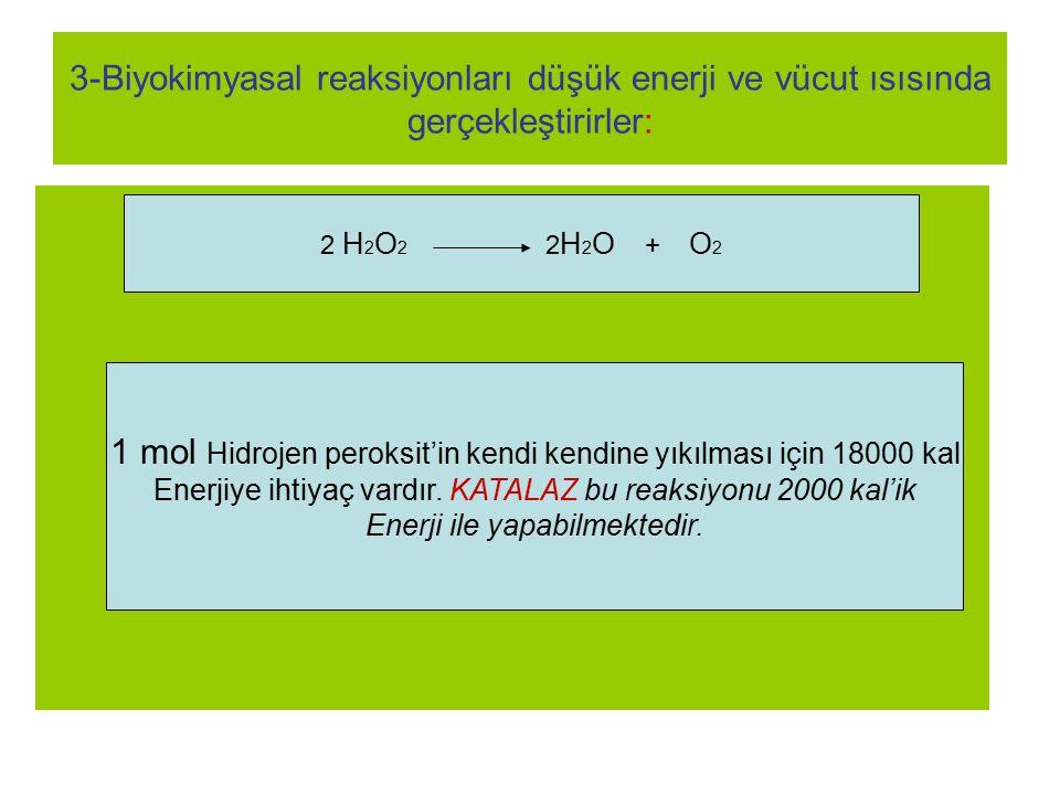 1 mol Hidrojen peroksit'in kendi kendine yıkılması için 18000 kal