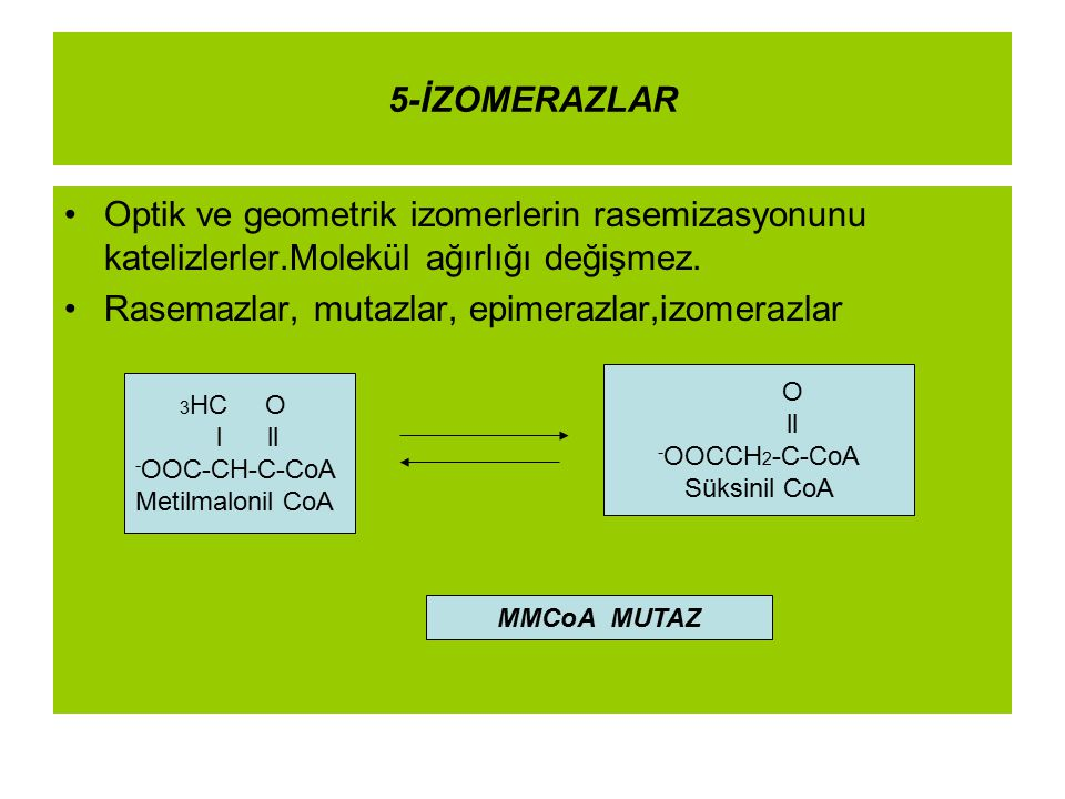Rasemazlar, mutazlar, epimerazlar,izomerazlar