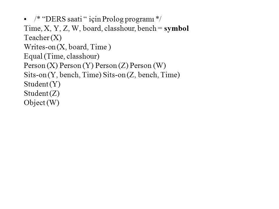 /* DERS saati için Prolog programı */