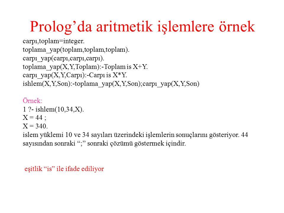Prolog'da aritmetik işlemlere örnek