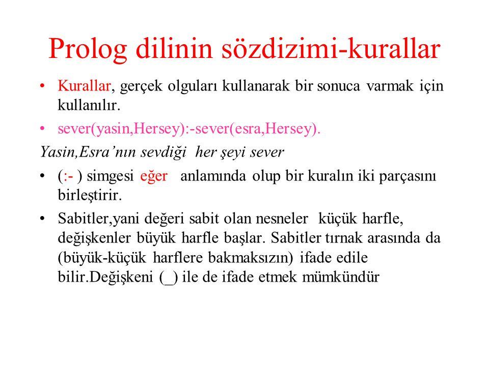Prolog dilinin sözdizimi-kurallar