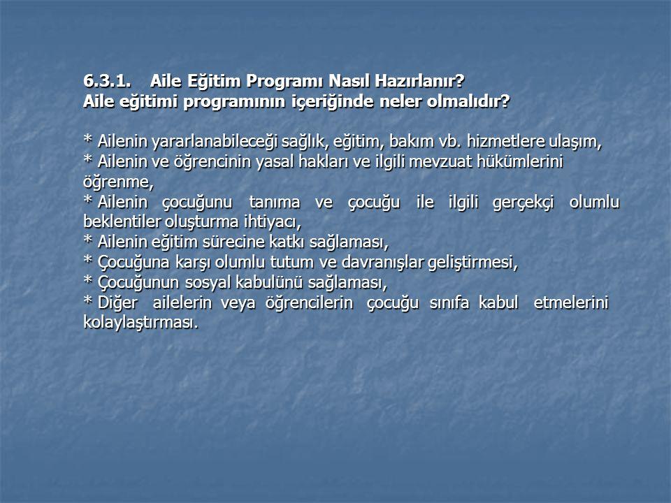 6.3.1. Aile Eğitim Programı Nasıl Hazırlanır