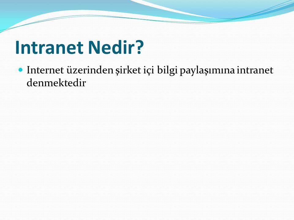 Intranet Nedir Internet üzerinden şirket içi bilgi paylaşımına intranet denmektedir