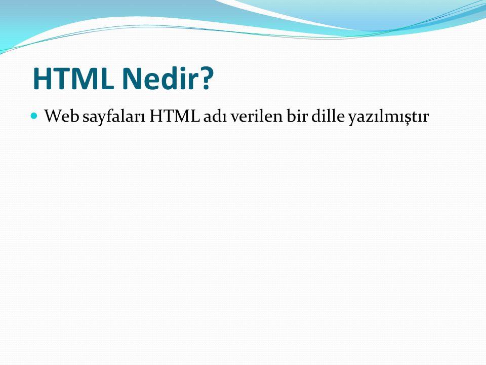 HTML Nedir Web sayfaları HTML adı verilen bir dille yazılmıştır