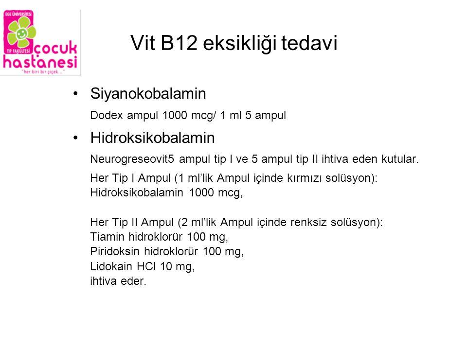 Vit B12 eksikliği tedavi Siyanokobalamin Hidroksikobalamin