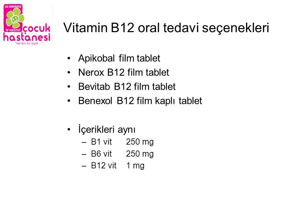 Vitamin B12 oral tedavi seçenekleri