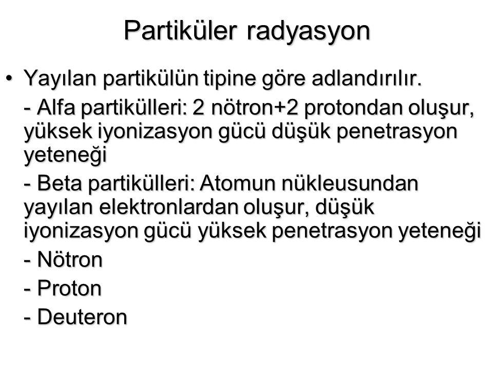 Partiküler radyasyon Yayılan partikülün tipine göre adlandırılır.